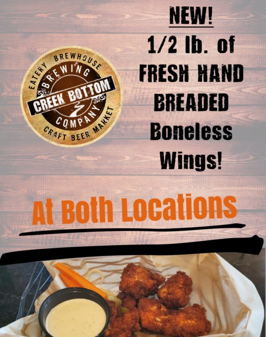 NEW! HAND-BREADED Boneless Wings!